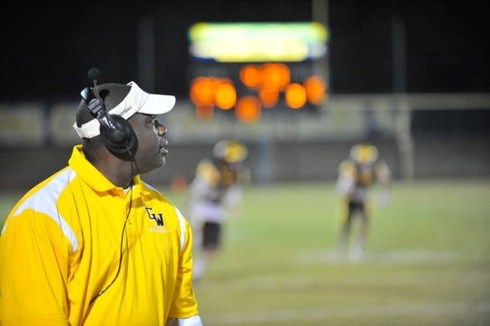 Golden West assistant coach Montel Harris against El Diamante in the annual Battle for the Saddle game at Groppetti Stadium on October 26, 2018. Harris died on Tuesday from complications of a stroke.