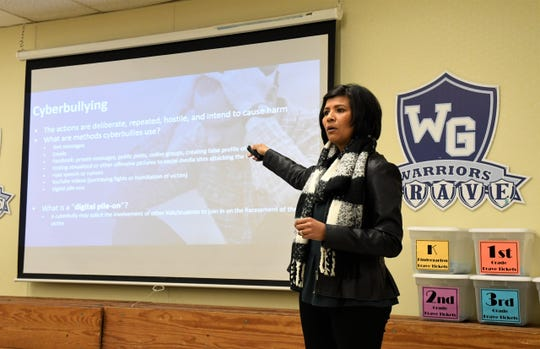 Victim Advocate Anna Isais presents to students at Willow Glen Elementary School in Visalia on Tuesday, Jan. 28, 2020. Isais, who works at the Tulare County District Attorney's Office, spoke to a small group of students about how to stay safe online.