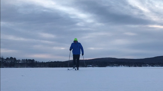 The author cross-country skiing on frozen Lake Wausau.