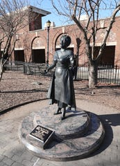 A sculpture of Ella Fitzgerald outside of the Yonkers train station, created by sculptor and Yonkers resident Vinnie Bagwell, is pictured Jan. 29, 2020.