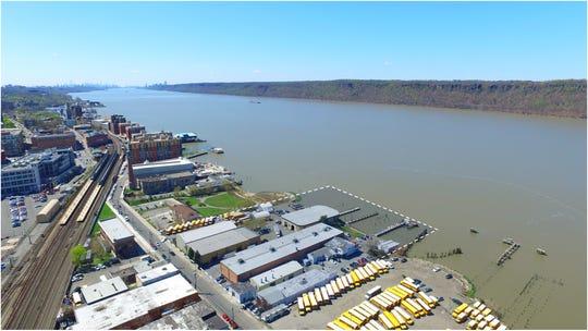 Aerial view of 57 Alexander in downtown Yonkers