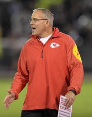 Nov 20, 2014; Oakland, CA, USA; Kansas City Chiefs special teams coordinator Dave Toub reacts against the Oakland Raiders at O.co Coliseum. Mandatory Credit: Kirby Lee-USA TODAY Sports