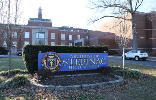 The main entrance of Archbishop Stepinac High School in White Plains, New York