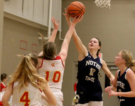 Notre Dame's Reagan Macha blocks Christ Academy's Elizabeth Luffman Tuesday, Jan. 28, 2020, at Christ Academy.