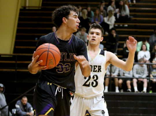 Abilene Wylie's Payton Brooks dribbles by Rider's Dylan Fettkether Tuesday, Jan. 28, 2020, at Rider.