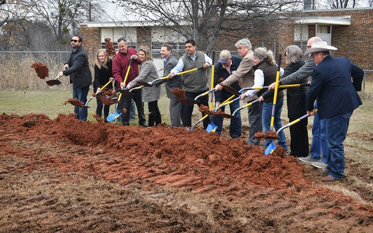 City officials, contractors and others involved break ground on a new Wichita Falls Public Transportation Maintenance Facility on Windthorst Road. Wednesday afternoon.