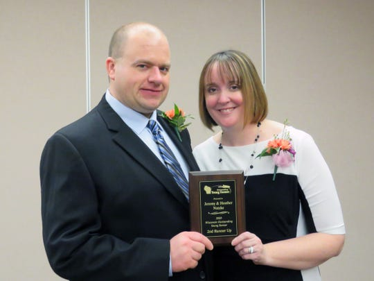 Jeremy and Heather Natzke, of Green Leaf, were the 2nd runner up for the Wisconsin Outstanding Young Farmer award. The winners were presented awards curing the annual awards weekend in Chippeq Falls held Jan. 24-26, 2020.