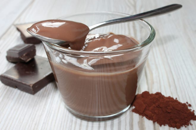 Getty Images/iStockphoto National Chocolate Mousse Day, children will learn how to make chocolate mouse, 4 to 5 p.m. April 3. (609) 567-2900. hammontonfamilysuccess.org. Hammonton Family Success Center, 310 Bellevue Ave., Hammonton. chocolate pudding in a glass bowl on a grey wooden table
