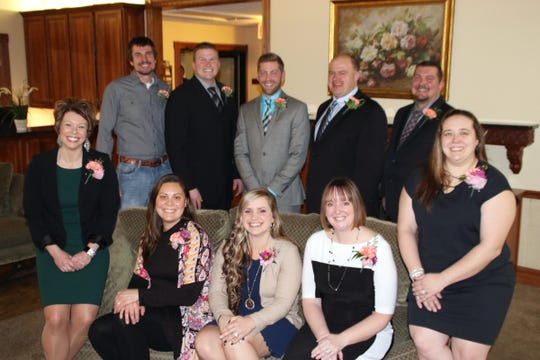 "The Wisconsin Outstanding Young Farmer finalists gathered for the 66th annual awards weekend in Chippewa Fall, Jan. 24-26. Pictured, from front left, are Katy Schultz, Laura Finger, Laura Raatz, Heather Natzke, Chase Pagel; back from left, Kelly Fruit, Philip Finger, Tyler Raatz, Jeremy Natzke and John ""JJ"" Pagel."
