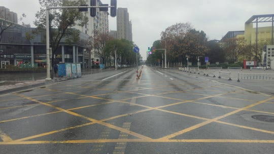 The road outside the Jianghan University campus on Jan. 27, 2020.