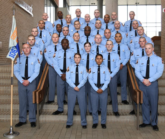 A group photo of the 106th Georgia State Patrol trooper class, provided by the Georgia Department of Public Safety.