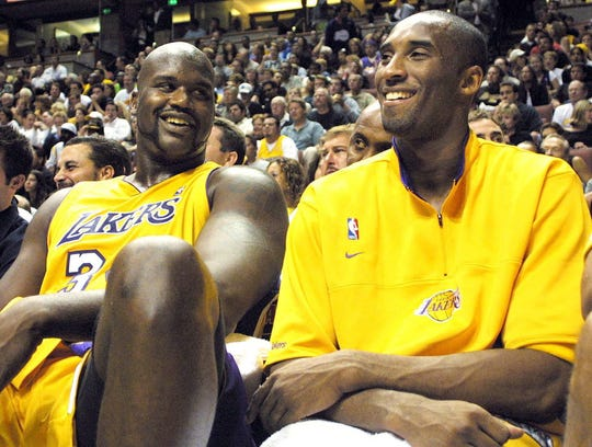 Kobe Bryant and Shaquille O'Neal in 2003