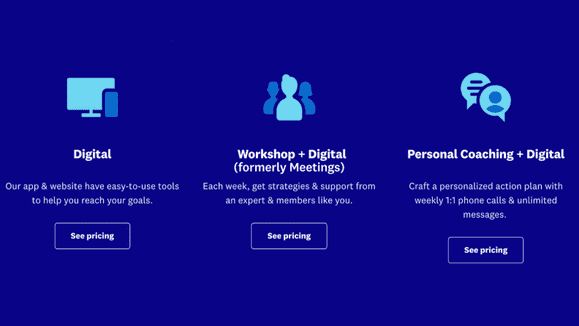There are a few different plans you can choose from: Digital, Workshop + Digital, and Personal Coaching + Digital.