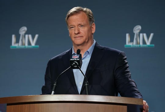 Jan 29, 2020; Miami, Florida, USA; NFL commissioner Roger Goodell during a press conference before Super Bowl LIV at Hilton Downtown. Mandatory Credit: Kirby Lee-USA TODAY Sports