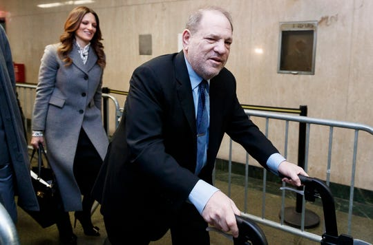 Harvey Weinstein arrives with lead defense attorney Donna Rotunno for his sex crimes trial in New York on Jan. 29, 2020.
