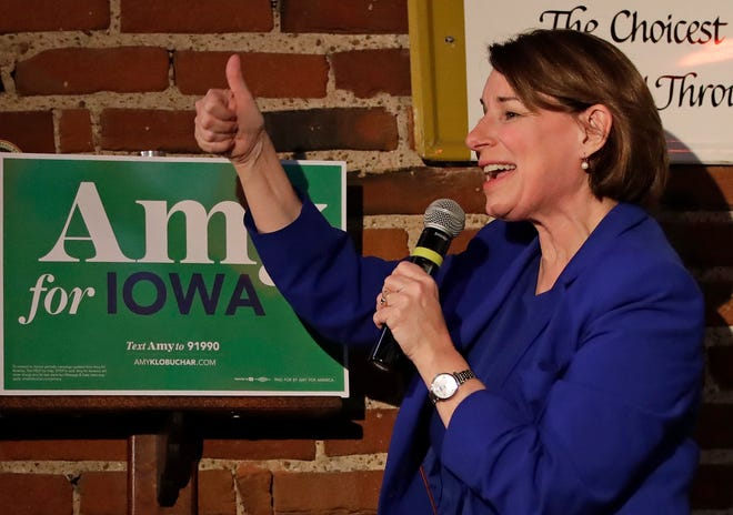 Democratic presidential candidate Sen. Amy Klobuchar, D-Minn., addresses a gathering at Barley's Taproom in Council Bluffs, Iowa,  Jan. 28, 2020.