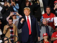 President Donald Trump speaks to supporters at a rally in New Jersey on January 28, 2020.