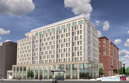 A rendering of a hotel at CityPlace Burlington is seen at Bank and St. Paul streets, looking northwest. Groundbreaking on the project is scheduled for August or September 2020, the developer said.