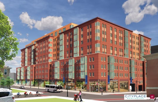 Residential apartments at CityPlace Burlington — as presented in a rendering on January 30, 2020. This view is from Cherry Street and a newly re-opened Pine Street, looking southeast. Groundbreaking on the project is scheduled for August or September 2020, the developer said.