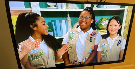 Bryana Turner (center) of Lindenwold, with fellow Girl Scouts Olivia (left) and Sophia, appears on a Jan. 25 episode of the Food Network's 'The Kitchen.'