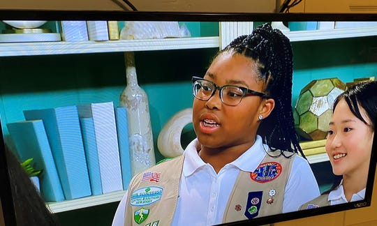 Girl Scouts Bryana Turner (left) of Lindenwold and Sophia Djeng of Plainsboro appear on a Jan. 25 episode of the Food Network's 'The Kitchen.'