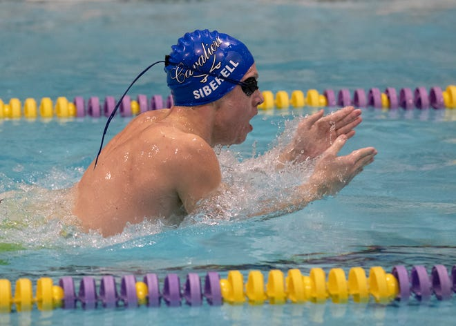 Chillicothe's Evan Siberell won the 200-yard individually medley with a time of 2:13.26 and the 100-yard breaststroke with a time of 1:02.86 at the Frontier Athletic Conference (FAC) swimming championships at McClain High School on Jan. 29, 2020.