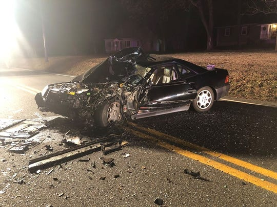 The vehicle involved in a fatal crash on County Route 523 in Readington on Wednesday night.