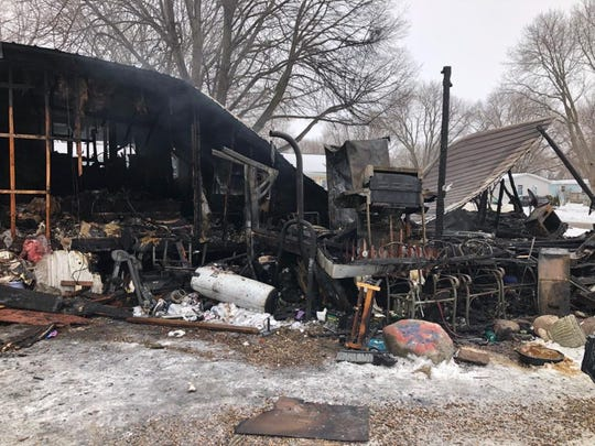 This photo shows what remains of Josie Hernandez's mobile home, which caught fire in the Country Living Mobile Home Park near Altoona on Jan. 29, 2020.