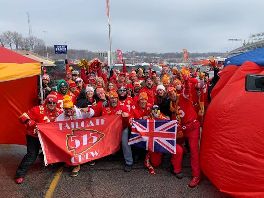 Members of the central Iowa-based 515 Tailgate Crew gather before many Kansas City Chiefs games, including this year's AFC divisional-round matchup against the Houston Texans. The group has attracted fans from other countries to individual tailgates, including the United Kingdom.
