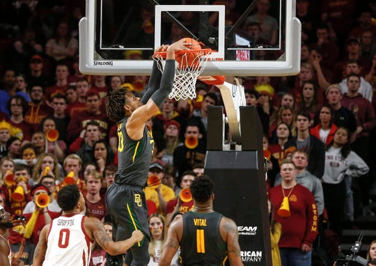 Baylor forward Freddie Gillespie dunks the ball in the second half against Iowa State on Wednesday, Jan. 29, 2020, at Hilton Coliseum in Ames.