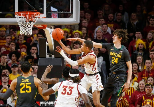 Iowa State sophomore Tyrese Haliburton goes up to the basket for a shot as Baylor's Matthew Meyer attempts the defense on Wednesday, Jan. 29, 2020, at Hilton Coliseum in Ames