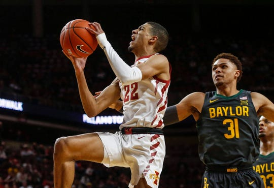 Iowa State guard Tyrese Haliburton soars to the basket for a field goal in the second half against Baylor on Wednesday, Jan. 29, 2020, at Hilton Coliseum in Ames