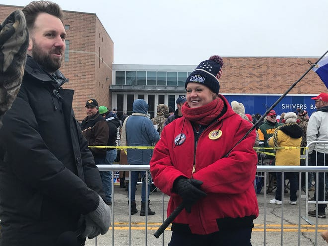The Daily Show's Jordan Klepper interviews Jaimi Fay outside the Knapp Center on the Drake University Campus about her support for President Trump ahead of a rally.