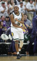 Michigan State guard Cassius Winston reacts after scoring during second half of MSU's 79-50 win on Wednesday, Jan. 29, 2020, at the Breslin Center.