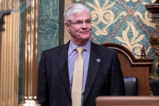 Senator majority leader Mike Shirkey during the State of the State address at the State Capitol in Lansing, Wednesday, Jan. 29, 2020.