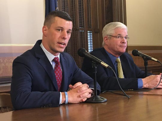Speaker of the House Lee Chatfield, R-Levering, and Senate Majority Leader Mike Shirkey, R-Clarklake, as they talk to reporters Thursday, January 30, 2020 about Gov. Gretchen Whitmer's State of the State speech.