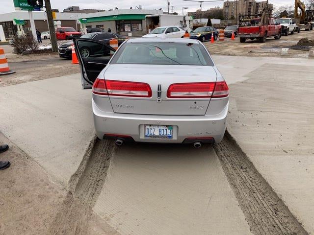 Motorist drives into concrete slab near 8 Mile.