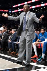 Pistons coach Dwane Casey reacts to a call on the court during the second half of the Pistons' 125-115 loss to the Nets on Wednesday, Jan. 29, 2020, in Brooklyn, New York.