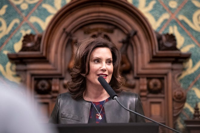 Governor Gretchen Whitmer delivers the State of the State address at the State Capitol in Lansing, Wednesday, Jan. 29, 2020.