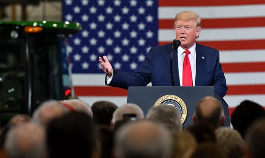 President Donald Trump gives remarks at Dana Incorporated in Warren.