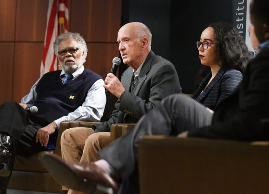 Sam Riddle, John Mogk and Tina Patterson were part of a panel discussion on The Detroit News' investigation into Detroit homeowners being overtaxed by the city at Wayne County Community College in Detroit, Michigan on January 29, 2020.