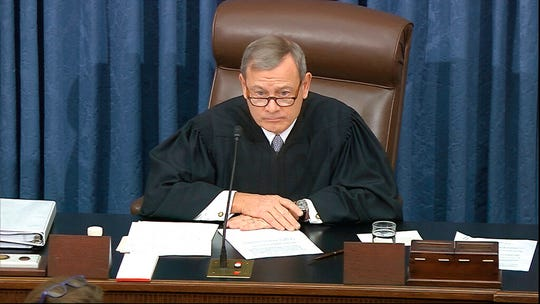 In this image from video, presiding officer Chief Justice of the United States John Roberts listens after declining to read a question submitted by Sen. Rand Paul, R-Ky., during the impeachment trial against President Donald Trump in the Senate at the U.S. Capitol in Washington, Thursday, Jan. 30 2020.