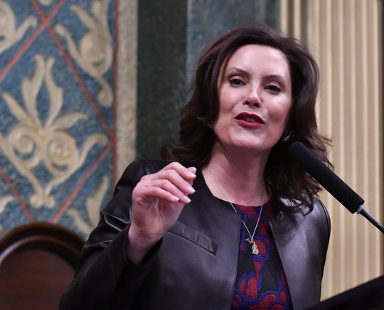 Gov. Gretchen Whitmer gives her Michigan State of the State address at the Capitol.
