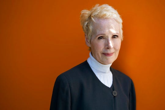 In this June 23, 2019, file photo, E. Jean Carroll poses for a photo in New York. Lawyers for Carroll who accuses President Donald Trump of raping her in the 1990s are asking for a DNA sample, seeking to determine whether his genetic material is on a dress she says she wore during the encounter.