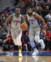 The Pistons' Reggie Jackson (1) and Andre Drummond are possible players on the move as the NBA trade deadline approaches next week.