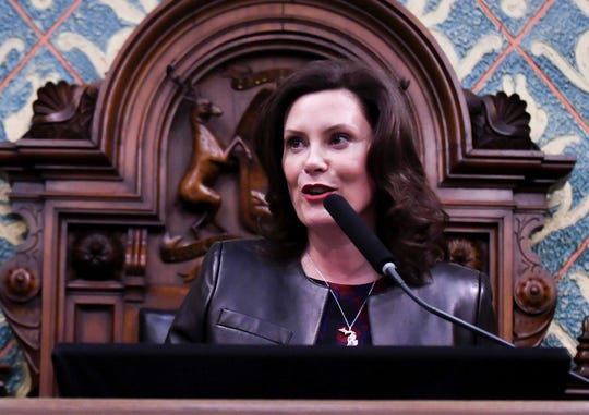 Michigan Gov. Gretchen Whitmer delivers her the State of the State address on Wednesday.