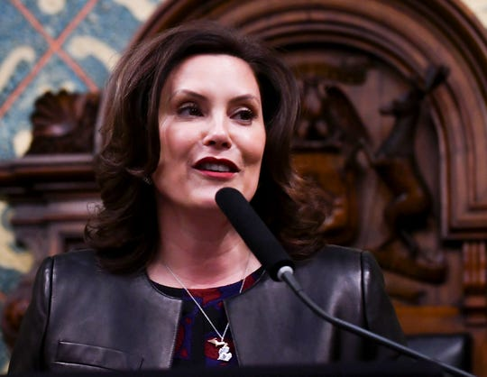 Michigan Gov. Gretchen Whitmer delivers her the State of the State address at the Capitol Building in Lansing, Mich. on Jan. 29, 2020.