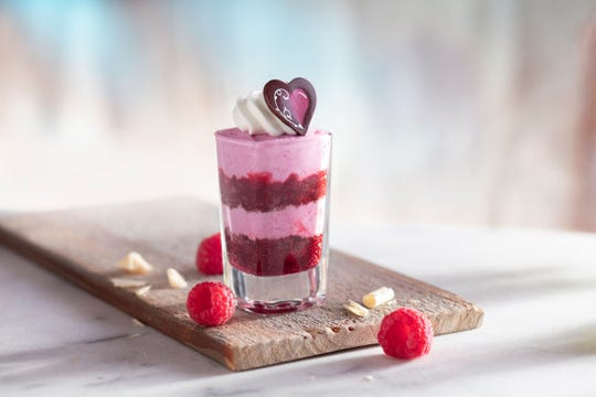 Seasons 52 in Troy will offer this red velvet cake layered with raspberry white chocolate mousse and raspberry purée on Feb. 12 as part of its Five Days of Valentines promotion.