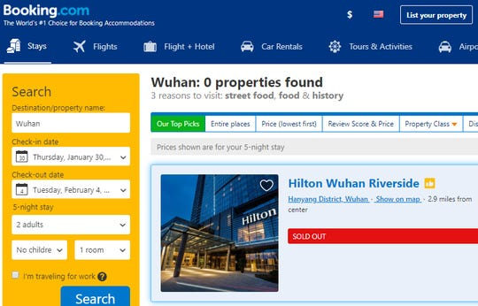 """Booking.com shows the Hilton Wuhan Riverside as sold out for the night of Jan. 31. On the hotel's own website, more detail is provided: """"As a precautionary measure in line with prevention efforts across China and local government requirements, Hilton Wuhan Riverside will temporarily stop taking bookings from now until 15 February 2020."""""""