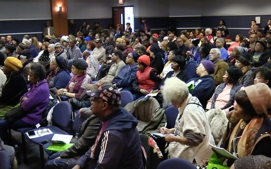 Around 200 people filled the room during panel discussion on The Detroit News' investigation into Detroit homeowners being overtaxed by the city at Wayne County Community College in Detroit, Michigan on January 29, 2020.